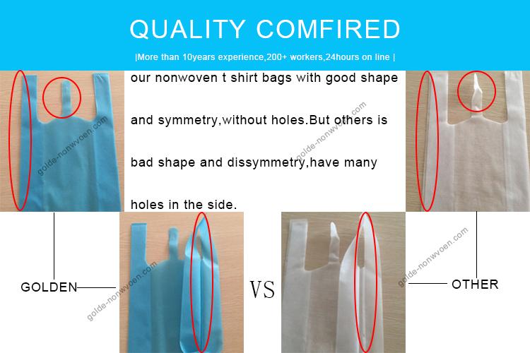 โปรโมชั่นราคาถูกพิมพ์ออนไลน์ช้อปปิ้งโลโก้ไม่ทอกระเป๋าเสื้อยืดกระเป๋าเสื้อกั๊กเองวูฟผู้ผลิตจีน
