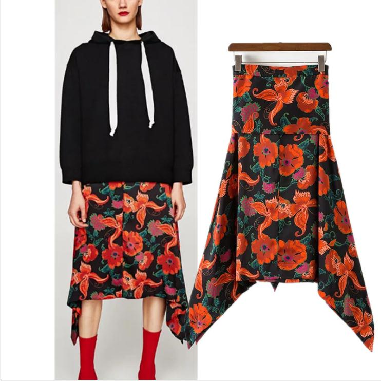 K2741A European Stylish Long Floral Printed Skirts Women Autumn Fashionable Irregularity Skirts Women
