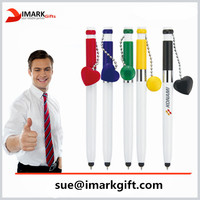 Multi-function stylus pen with Heart or round shape pendant/ promotional plastic ball pen for office and school