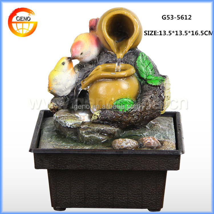 Welcome mini table top ganesh resin office water fountain with Love theme sculpture