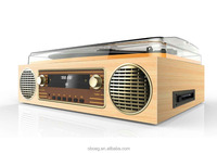 2017 Modern retro turntable cd record player with cassette, AM/ FM radio ,USB recorder,Aux input