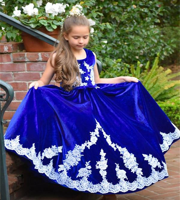 Flower Girl Dresses Popular Brand Janevini Vintage Royal Blue Girls Dresses 2018 White Applique Velvet Long Princess Kids Flower Girl Dresses For Weddings Holiday
