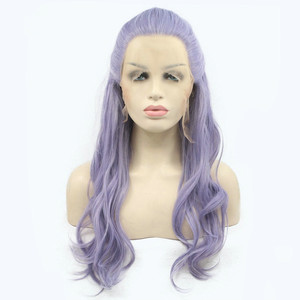Purple Wig with Fishtail Braid Natural Wave Long Hair Heat Resistant New Synthetic Lace Front Wigs for Women Light Violet
