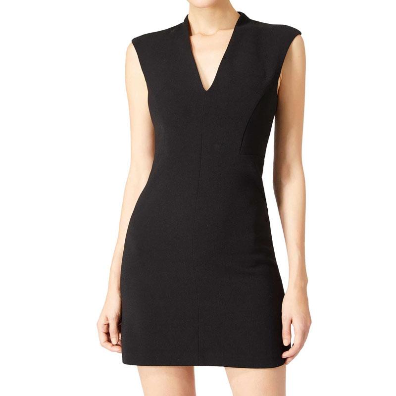 New sexy mini bodycon sleeveless dress tight black latex dress with V neck cf2bb8b78