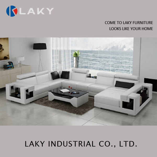 LK-LS1530 Superb extra large size black and white corner leather sofa
