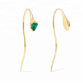 2017 latest fashion top design sterling silver stud emerald earrings hook