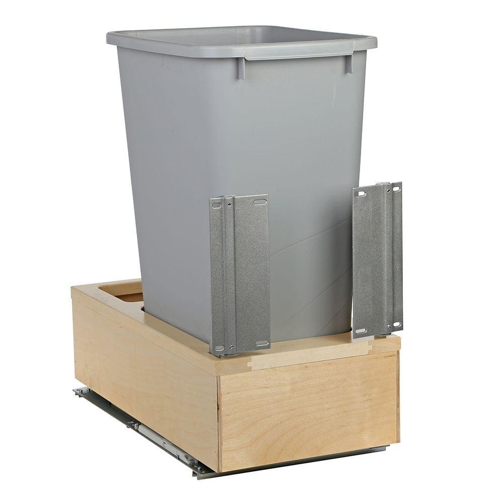 Knape & Vogt 11-1/4 in. x 22-3/8 in. x 23-5/16 in. 50 Qt. Undermount Soft-Close Single Trash Can