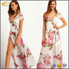 Ecoach wholesale casual silk short sleeve v neck White Floral Print wrap long women Maxi Dress