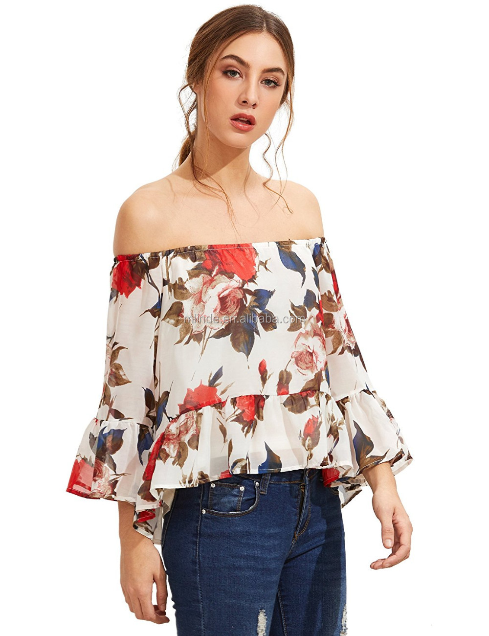 Womens Off Shoulder ChiffonT Shirt Girls Casual Summer Lace Floral Blouse Tops