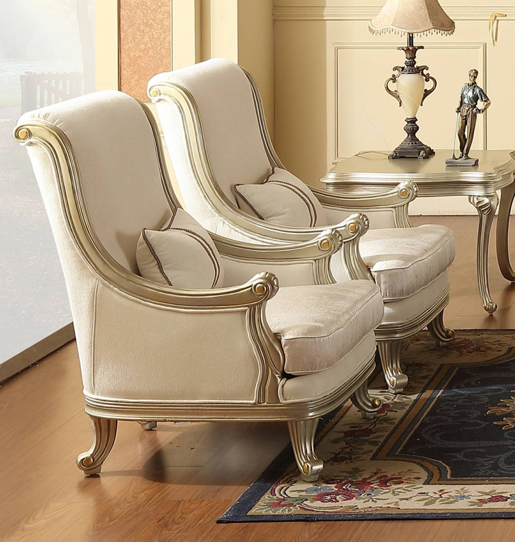 Royal Style Living Room Wooden Fabric Solid Wood Frame ...