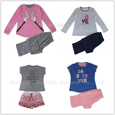 Custom ladies female printing long sleeve winter polyester and 100% cotton pajamas
