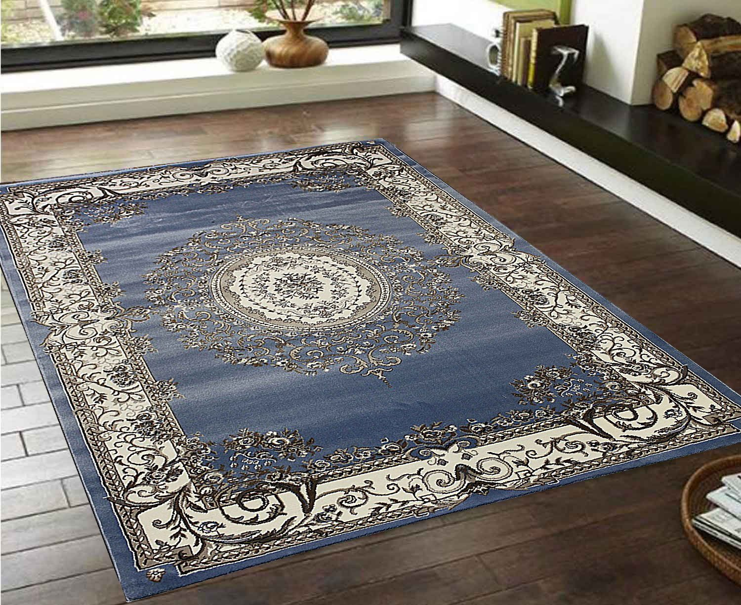Get Quotations LA Rug Linens Persian Elegance Light Blue Sly White Cream Brown Black Classic Traditional