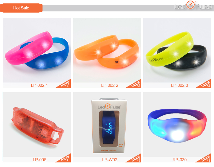 patented led pulse motion sensor light up silicon wristbands bracelets