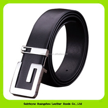 16252 Wholesale Fashion Italian Style Unique Sharp Alloy Buckle Ture Leather Belts for Men