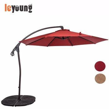 10 Feet Aluminium Outdoor Offset Hanging Umbrella With Hand Push