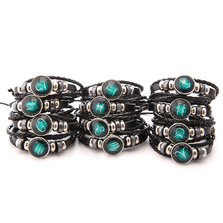 Constellations Jewelry Black Weave Multilayer Leather Bracelet