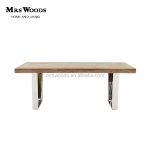Modern rustic wood top U shaped stainless steel legs rectangle dining table