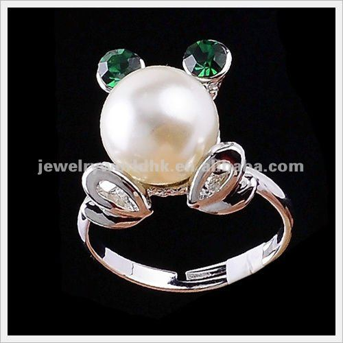 Wholesale Authentic Austrian green crystal gold plated pearl frog fashion style ring jewelry