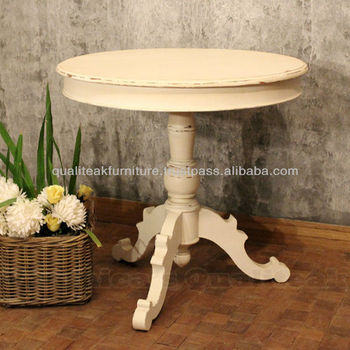 Ingrid Antique White Paint Round Table With Classic Swedish