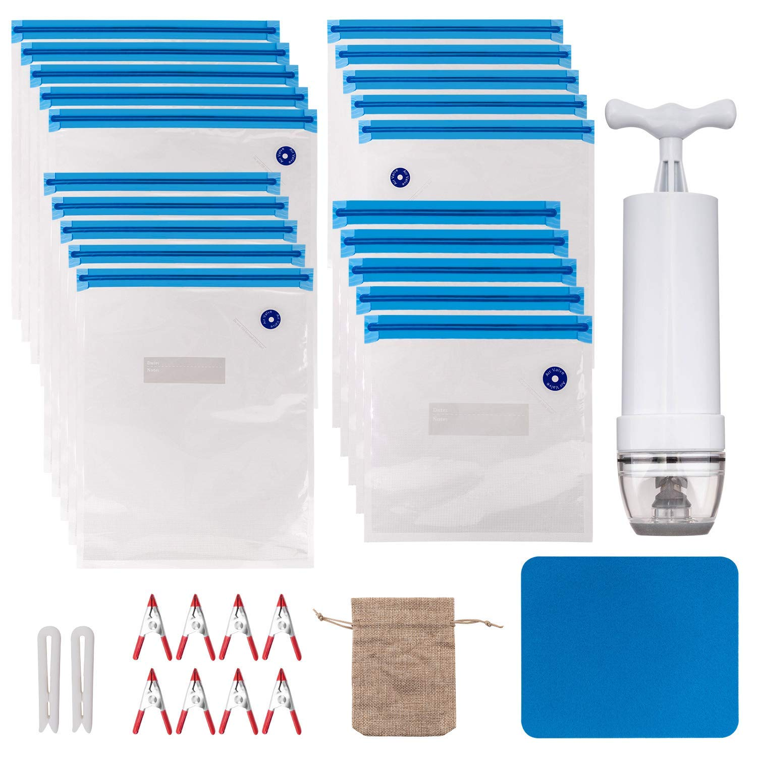 Sous Vide Bags Kit - 20 Reuseble Food Vacuum Sealed Bags for Sous Vide Cooking and Food Storage with 1 Hand Pump, 2 Bag Sealing Clips and 8 Sous Vide Clips,1 Cushion and 1 Storage Bag(33 Pcs)