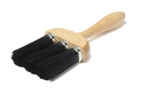 wooden handle 3 rings dusting brush