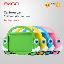 EXCO Kid proof tablet cartoon car silicone case for ipad mini4 with stand handle