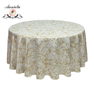 Popular gold and white branch printed satin table cloth(Heavy satin)