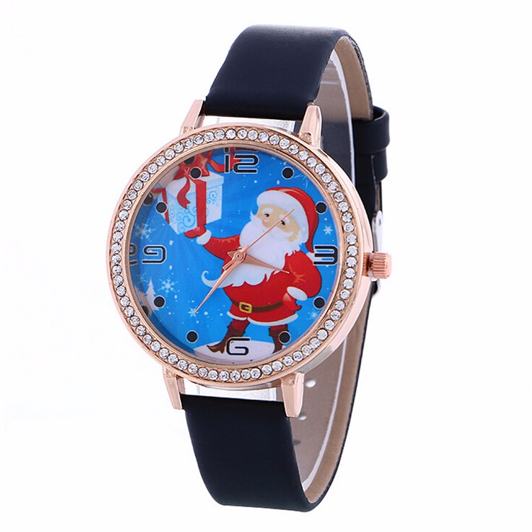 Women Watches Christmas Elderly Pattern Leather Band ...