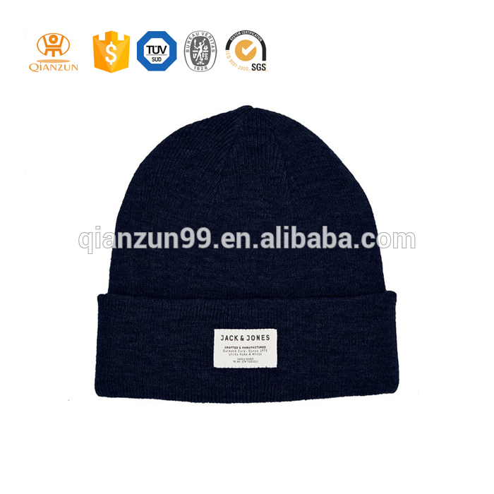 wholesale custom high quality winter plain beanies with woven tag