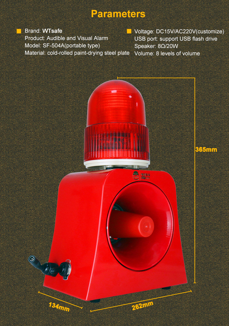 Hand Hold Rechargeable Red Led Flashing Alarm Beacon