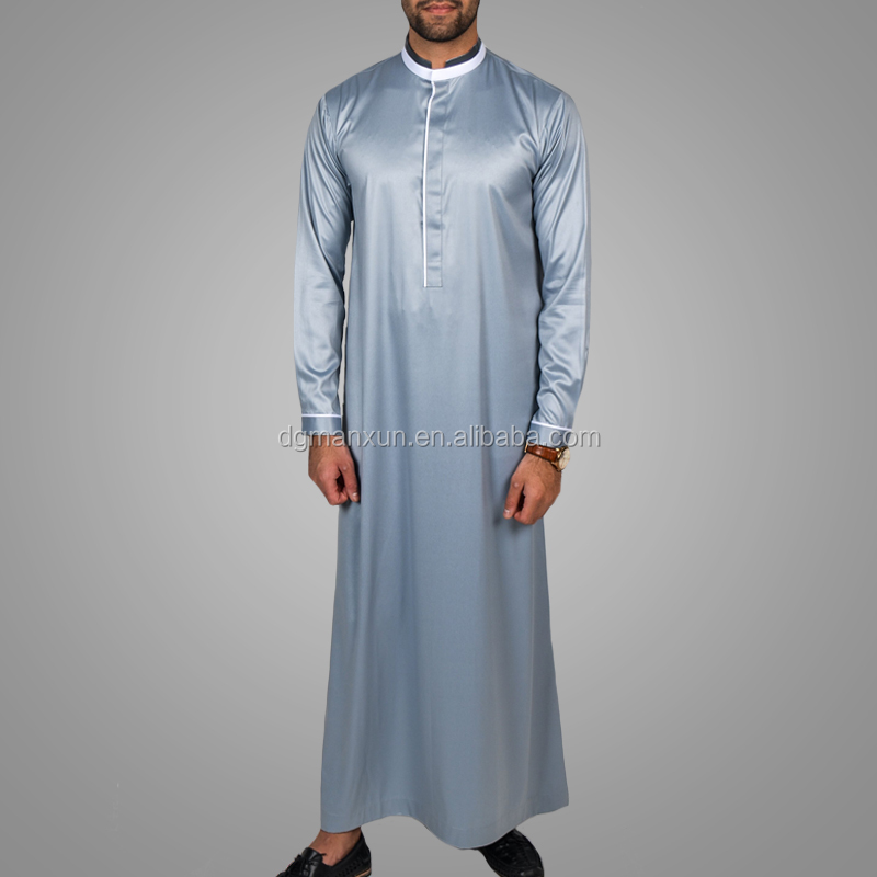 2018 New Arrival Popular Men Clothing Gentle Style Arab Thobe High Quality Satin Muslim Jubah