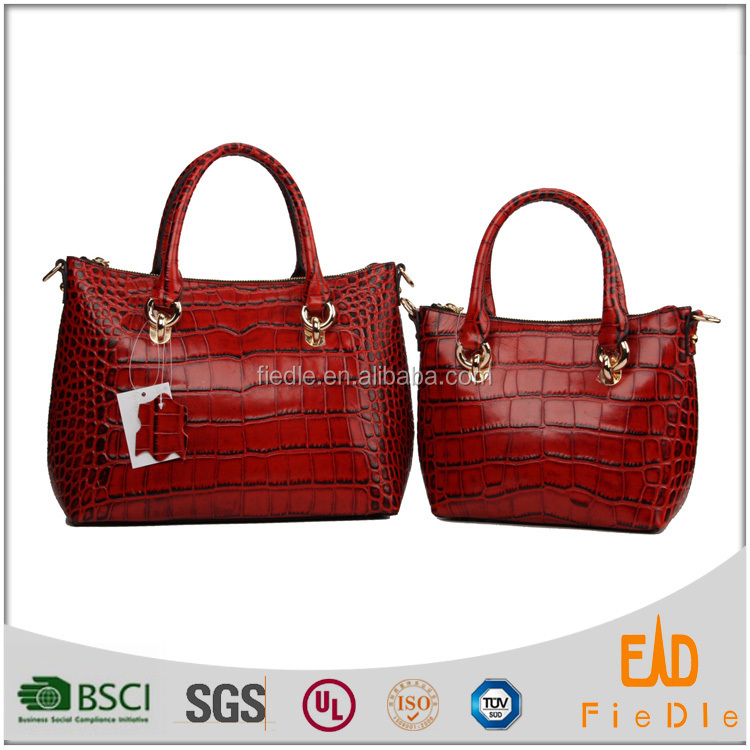 S260&S262 China factory Casual Women crocodile leather Bag Pattern two Piece Set Red HandBag set