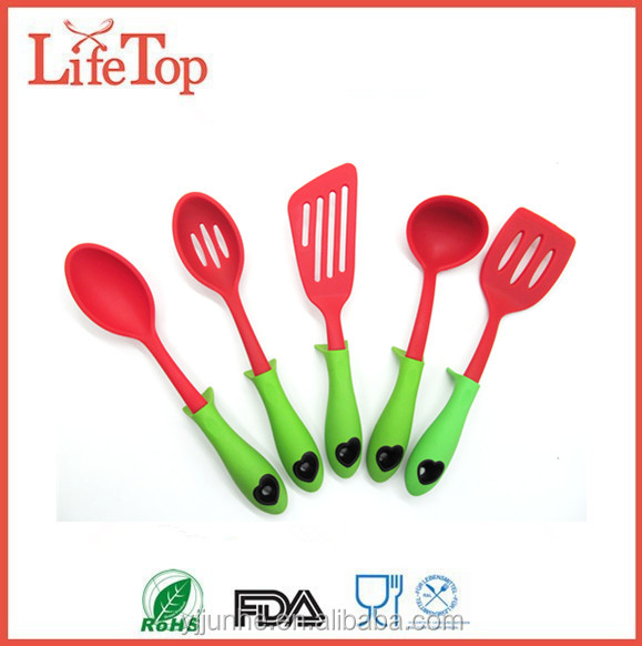 Custom Silicone Set of 5 Built-in Stand Kitchen Cooking Utensils and Gadge