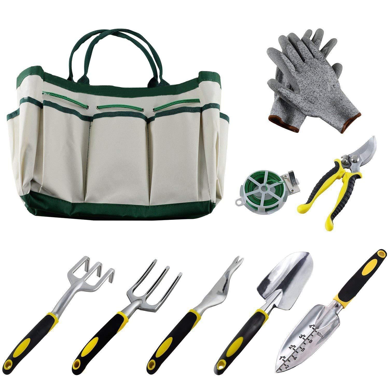 AOTIFARM Garden Tool Set Heavy Duty Gardening Gifts Kit With Garden Tote Bag