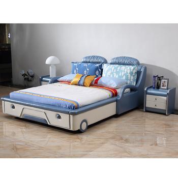 Foshan Beautiful Modern Leather Blue Boy Prince Kids Car Bed On Sale ...