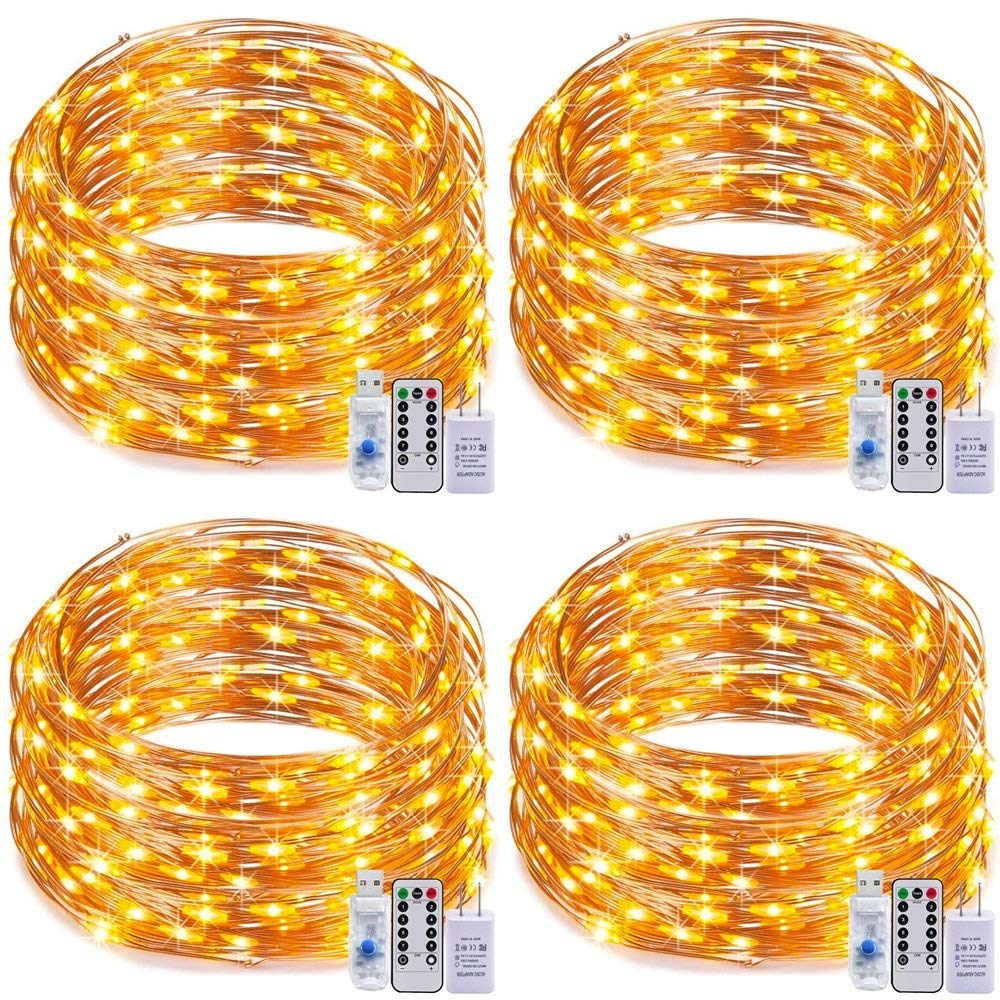 Dimmable LED USB String Lights,RcStarry(TM) Pack of 4 Sets 8 Modes 66Ft 200 LEDs Copper Wire Lights Plug In with Remote Control for Wedding Party Indoor&Outdoor Decorative (Warm White)