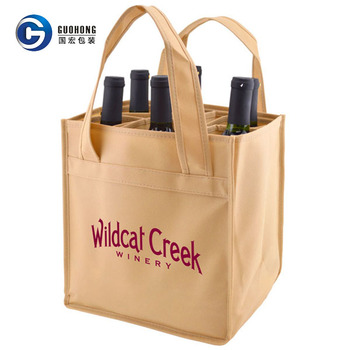 Custom logo print multiple reusable 4 bottle non-woven wine bag
