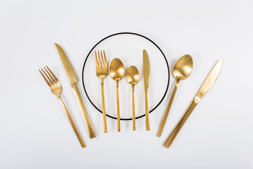 Bulk Gold Plated Flatware Set, Stainless Steel 430 Gold Cutlery Set, Kitchen Matte Gold Fork Spoon Knife Cutlery