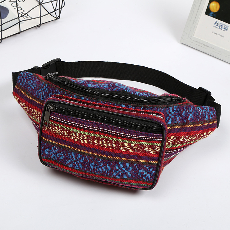 2019 New Fashion Neutral Sport Waist Bag Multicolor Messenger Bag Chest Bag Colorful Casual Bag with Two Pocket