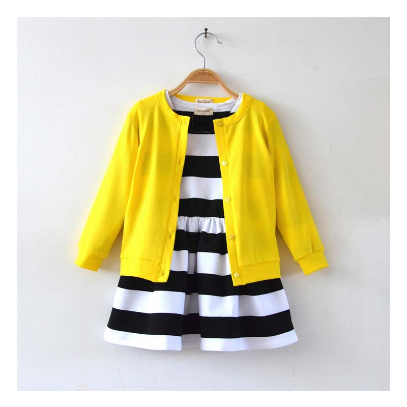 ca20080 kids clothes striped printed casual girls dresses suits 2016