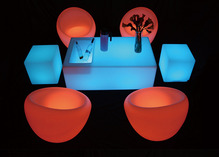 Factory direct led light up outdoor furniture with rechargeable