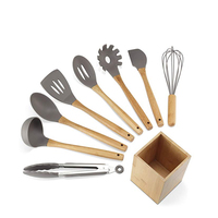 Best cooking tools camping 10 pieces silicone bamboo wood kitchen utensil set
