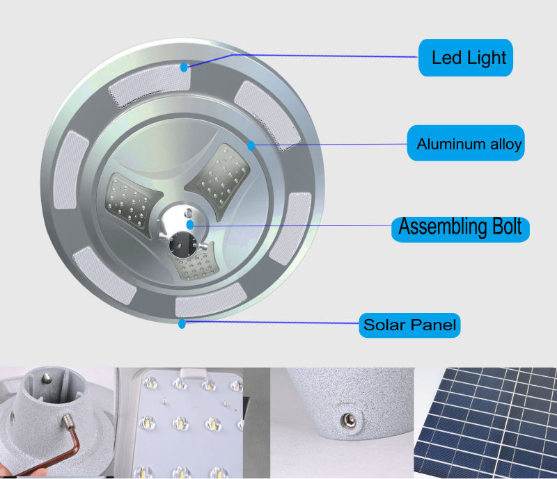 Unique Round Design Led Solar Street Light Price With Pole