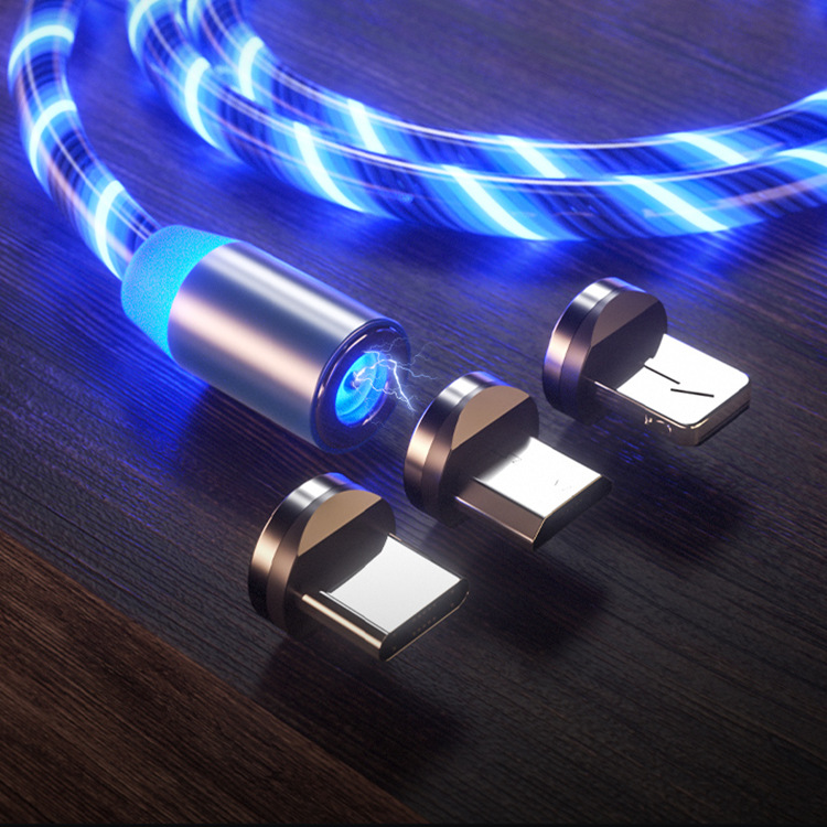 Typ C Magnetic Charging Kabel Sichtbar Fließ LED Licht USB Lade Sync Kabel für iPhone Micro USB