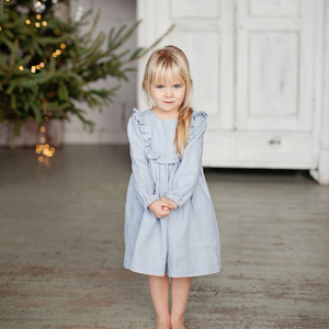 3c8464ab4e9c Wholesale Bib Ruffle Princess Dress Baby Girls Long Sleeve Skirt Cotton  Linen Baby Girl Blue Party