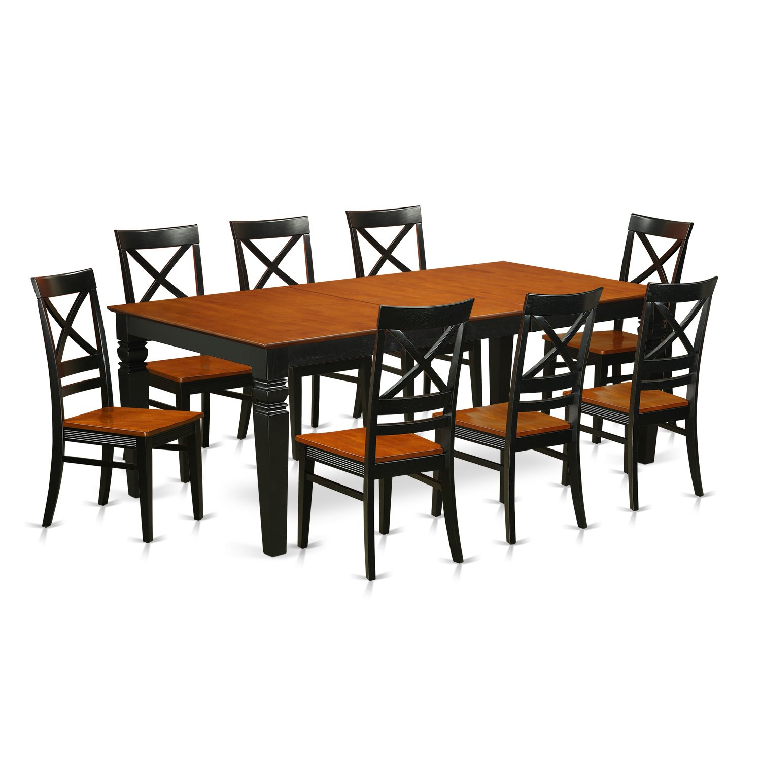 Get Quotations  East West Furniture LGQU9BCHW 9 Piece Kitchen Table Set With One Logan