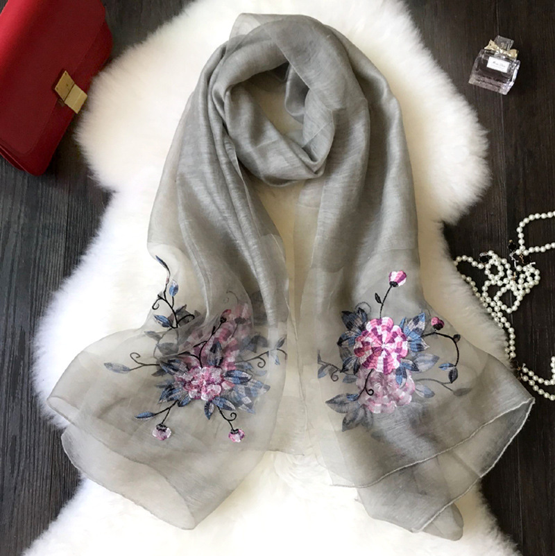 36a5f9b2858e Wholesale Silk Embroidery Scarf New Ladies Dimensional Embroidery ...