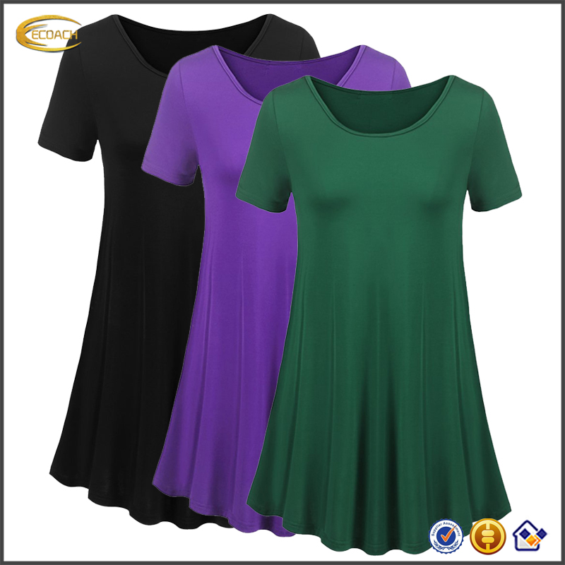 Ecoach 95%rayon 5%Elastane Womens Plus Size loose Fit wholesale blank Swing Tunic Tops Basic T Shirt