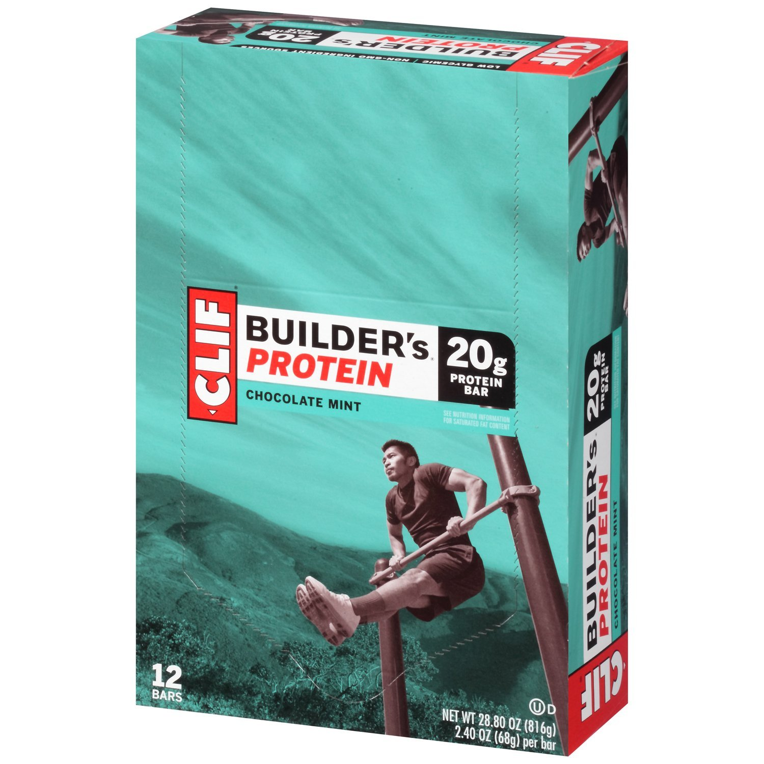 CLIF BUILDER'S - Protein Bar - Chocolate Mint - (2.4 Ounce Non-GMO Bar, 12 Count)
