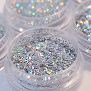 Silver Gold Mixed Glitter Powder Dust Glitter Sequins Sparkles Powder For Gel Nail Art UV Glitter Flakes Decoration 15g/piece